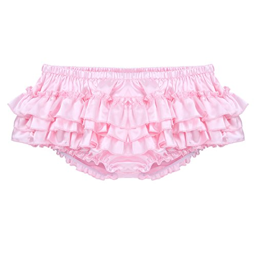 inhzoy Men's Sissy Maid Frilly Ruffled Briefs Crossdress Skirted Panties Underwear Bloomers Pink XX-Large