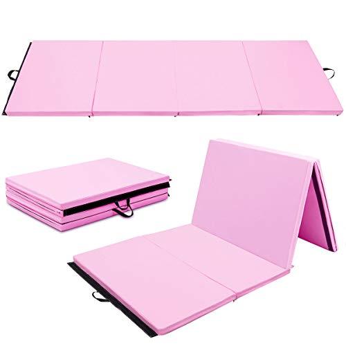 Giantex 4'x10'x2' Gymnastics Mat Folding Panel Thick Gym Fitness Exercise Christmas Gift (Pink)