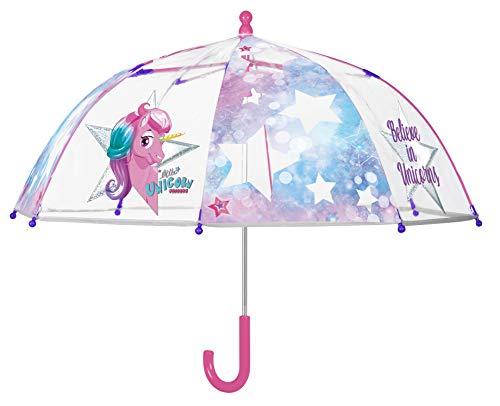Perletti - Paraguas para niña, Transparente y Unicornio, con Borde fosforescente – Paraguas...