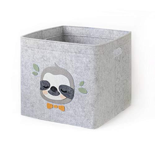 Lucky Sign-Care Aufbewahrungskorb Kinderzimmer Spielzeugkorb, 33x33cm -Faultierchen