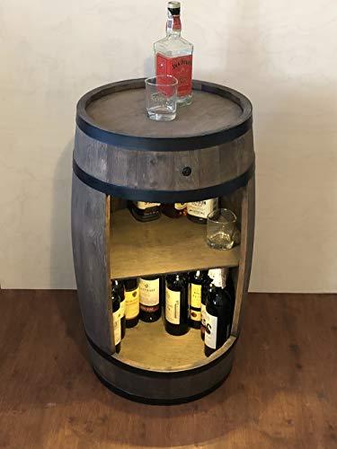 weeco Bar Schränk LED. Weinregal, Weinschrank im Retro Stil. Höhe 81cm. Fass mit Massivholz - 4