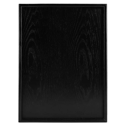 Rechthoek-zwart houten dienblad, thee-koffie-snack-food-maaltijden, de bakjes voor platenbar restauranthouders dienen (40 x 30 cm)