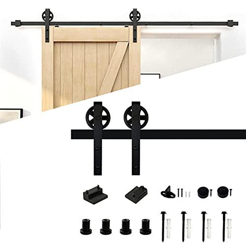 6FT/183cm Kit de herrajes para puertas corredizas de granero Juego de rieles para puertas corredizas para armario de puerta de granero industrial, protección de riel único para puerta colgante