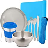 """Stainless Steel Children's Tableware & Kids Flatware Set Eco Friendly Reusable Dishes for Your Toddler, Includes A 10oz Cup & Straw, 8"""" Plate, 19oz Bowl Blue"""