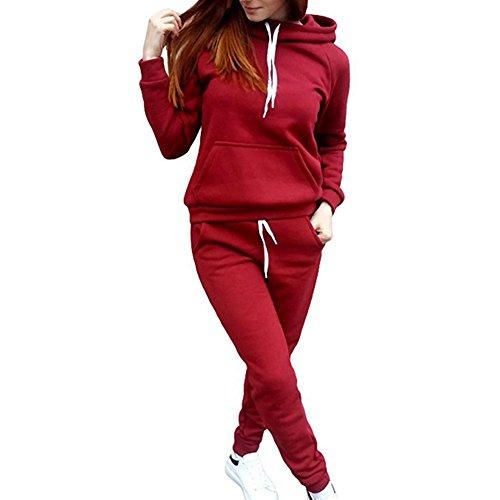 Damen Trainingsanzug Mode Einfarbig Langarm Kapuzenpullover mit Hose Fitness Jogginganzug Herbst Winter Casual Sportanzug Hausanzug 2 Piece Set