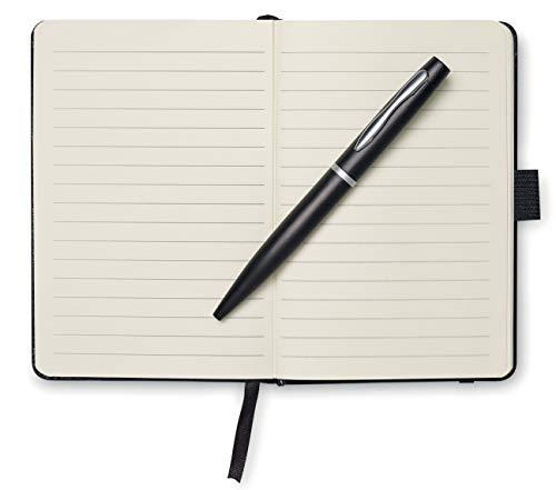 Taccuino formato A6con penna, Black, 14.5x10x1.2cm