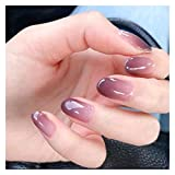 RUNGUANG LIGHTS 24pcs/set de uñas postizas para mujer niña brillante degradado púrpura tamaño corto puntas de uñas postizas color caramelo uñas falsas Tipsy
