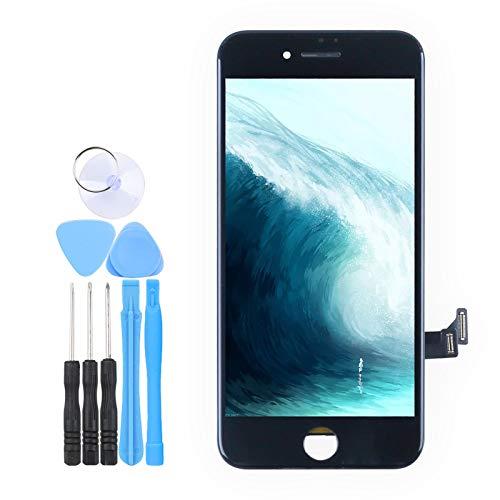 LL TRADER Skärm för iPhone 7 Svart, LCD Retina Touch Ersättnings Digitizer-rammontering med Reparationsverktyg