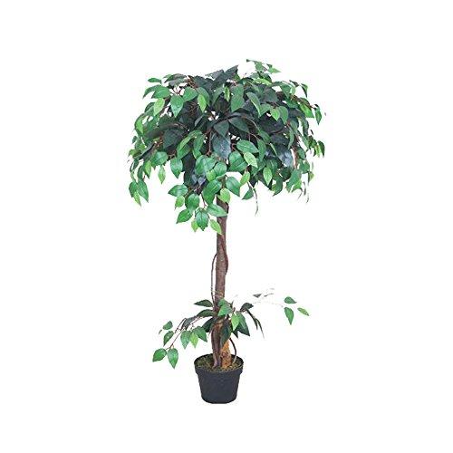 Decovego Ficus Benjamin Birkenfeige Kunstpflanze Kunstbaum Künstliche Pflanze mit Echtholz 120cm
