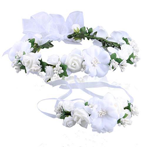 MOBRAVO Réglable Couronne de Fleurs pour Cheveux Mariage et Bracelet pour Femme Fille Blanc