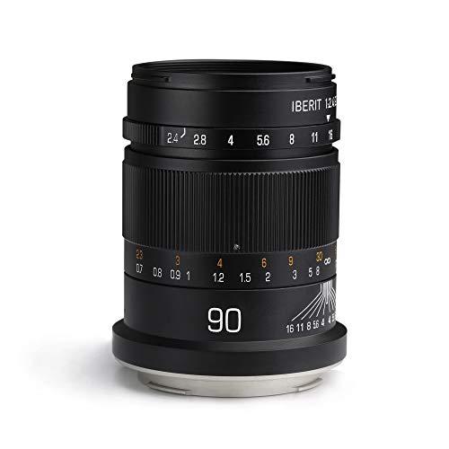 KIPON IBERIT 90mm F2.4 Full Frame Lenses for Panasonic L Leica SL TL Mount Camera (Black)