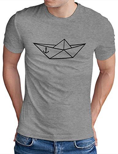 OM3® Origami-Paper-Boat T-Shirt | Herren | Papier Schiffchen Schiff Anker Seemann | Grau Meliert, XL