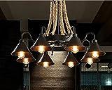 Lámpara Colgante De Techo,Lámpara De Araña Colgante Sala,Plafón De Techo Dormitorio,Lámpara De Hierro Forjado De Estilo Industrial Retro Creativo C: 93 * 60Cm