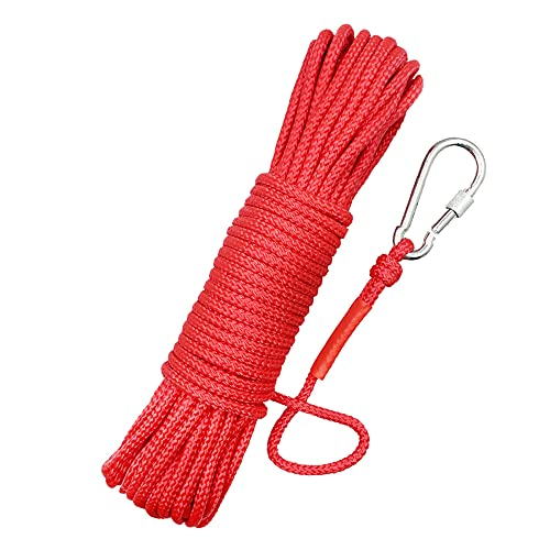 """Magnet Fishing Nylon Rope, 65 Feet All Purpose High Strength Cord Safety Braid Rope – Diameter 6mm – Approximately 1/4"""" – Good for Magnet Fishing and Underwater Treasure Hunting"""