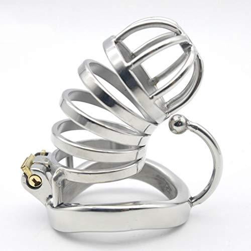 CJWWEI Das Hohle Design bietet eine Gute Belüftung. Die Anti-Offset-Version des Chǎstīty Lock/Belt Device for Herren aus rostfreiem Stahl ist mit einem Hakenring gebogen (Size : L)
