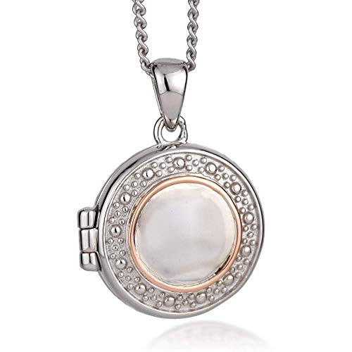 Clogau Womens Sterling Silver Rose and Welsh Gold SMALL Circle Locket