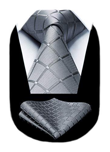 HISDERN Plaid Tie Handkerchief Woven Classic Men's Necktie & Pocket Square Set Gray