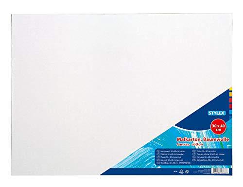 Stylex 28668 - Malkarton, 30 x 40 cm, Karton 3 mm stark, mit 100 % Baumwollgewebe bespannt, weiß grundiert, für Öl-, Acryl- und Temperafarben, Gouache - Malerei und Serviettentechnik