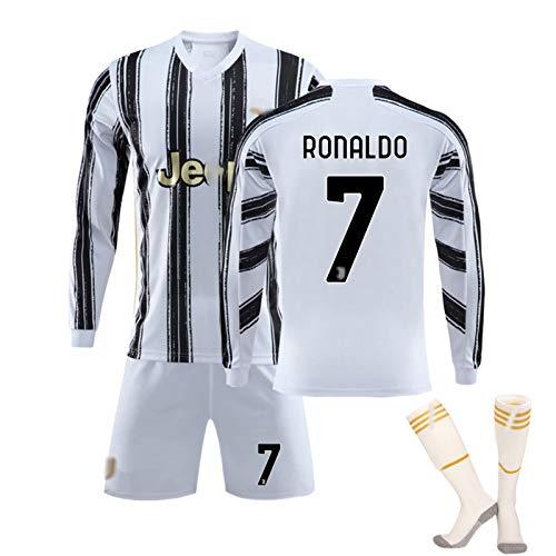 CFJJH Männer Kinderfußballuniform # 7 Ronaldo ¥ 4 De Ligt Trikots, Fan Jersey,Team Spiel Training Anzug Sportswear Langarm Hemd Shorts #7-L