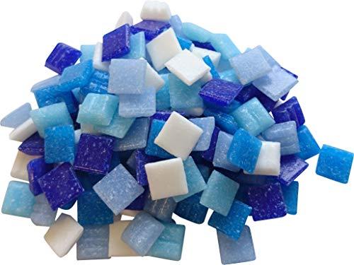 Fliesenhandel Fundus 1 Kg Glasmosaik 1x1cm Premium Qualität - ca.1500 Stück Glasmosaiksteine 10x10 Mosaiksteine (Blau Mix)