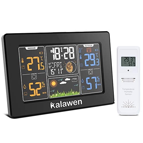 Kalawen Wetterstation mit Außensensor Innen und Außen Funkwetterstation Digitale Wetterstationen Farbdisplay DCF-Funkuhr Multifunktionale Weather Station mit Wettervorhersage Thermometer Hygrometer