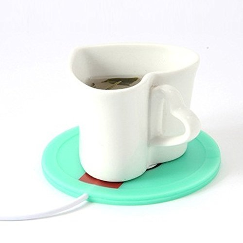 Coffee Warmer (Cup not Include) USB Coffee Insulation Electric Warmer Silicone Mat Mug Keep Hot Beverage Warm , Computer Coffee Warmer Tea Warmer (Green)