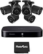 6 Lorex HD 1080p Outdoor Security Cameras with Lorex 4K Ultra HD 8 Channel Security DVR with Advanced Motion Detection Technology and Smart Home Voice Control, 2TB Hard Drive
