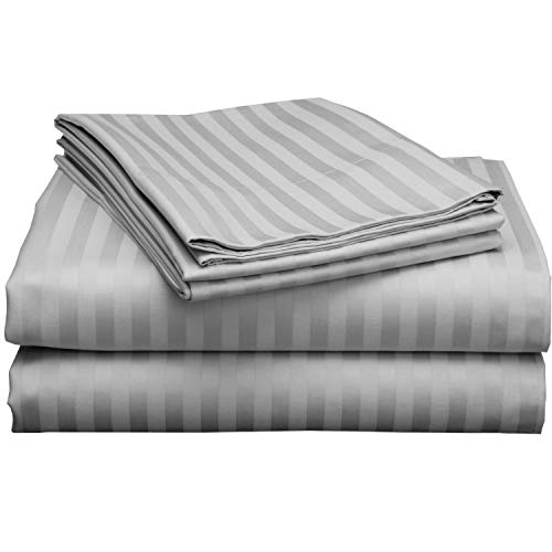 Twin Extra Long Sheets for Dorm Bedding-400 Thread Count - 100% Cotton Sheets - Specially Designed for Dorm Beds - Deep Pocket from 10-15 inches (Light Grey Stripe,(38 x 80) Twin - XL)