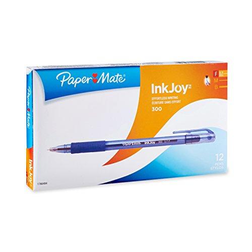 Paper Mate InkJoy 300 Ballpoint Pen, Blue, Fine Point, 12-Count
