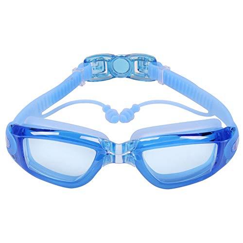 YOGA-YU Gafas De NatacióN Tapones para Los OíDos De Una Pieza Impermeables Y Antivaho HD Gafas De NatacióN para Adultos Gafas De NatacióN Galvanizadas con Montura Grande