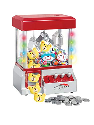 Claw Machine - Arcade Mini Toy Grabber Machine for Kids - Candy Machine- Retro Carnvial Music & Flashing Lights- Best Birthday Gift Game. Use Gumballs, Candy, Toys, or Small Prizes (Red)