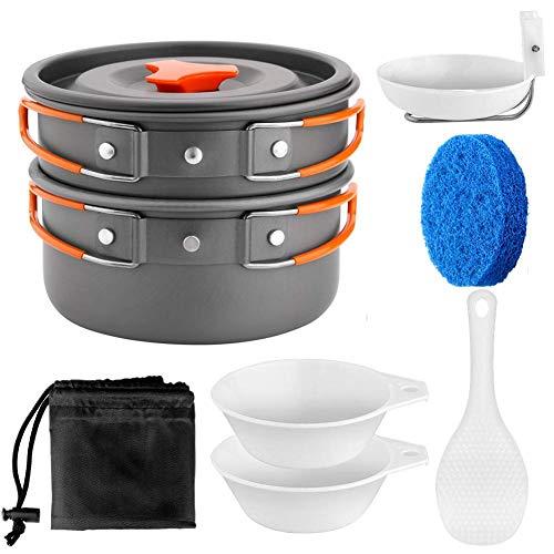 Acampar Kit de Utensilios de Cocina de 1 a 2 Personas Portable Hoguera de Cook Set Utensilios Equipo de Cocina para el Campamento itinerante Equipo de Senderismo al Aire