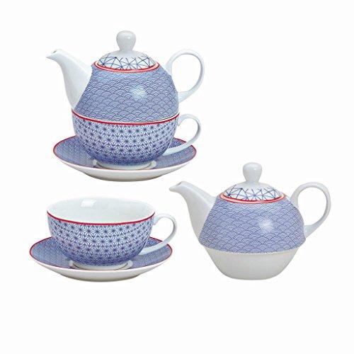 Tea for One Set retro Motiv, blau; 3-teilig bestehend aus Tasse, Kanne, Untertasse; inkl. Kultaroma Premium Tee gratis