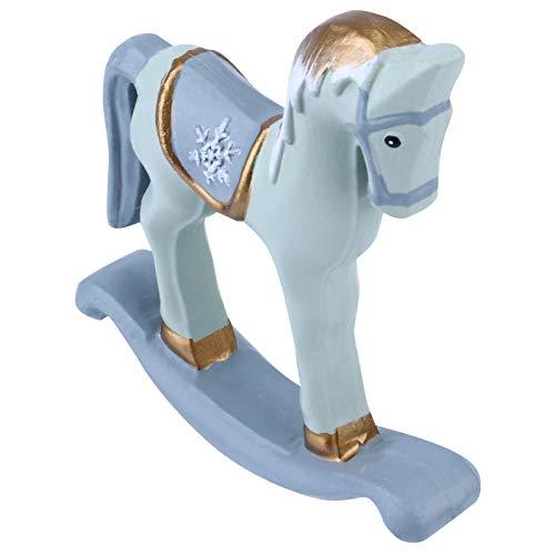 VOSAREA Natale Cavallo a Dondolo Figurine Giostra in Legno Stato Cavallo Giro su Scultura Animale Ornamento da Tavolo per Ricordo Ornamento di Natale 2020 (Blu)