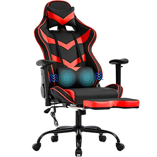 Gaming Chair Massage Office Chair Racing Computer Chair with Lumbar Support Footrest Armrest Headrest Ergonomic Desk Chair Task High Back PU Leather Rolling Swivel Chair for Adults(Red)