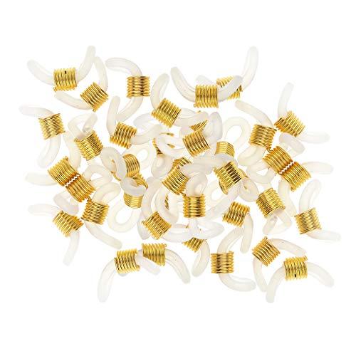 50pcs Connettori In Gomma Siliconica Estremità A Spirale In Metallo Per Risultati Di Gioielli Con Collana A Catena Per Occhiali Con Perline A Catena, - Oro