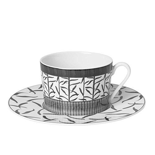 Table Passion - Tasse the 22 cl porcelaine decor madras gris (lot de 6)