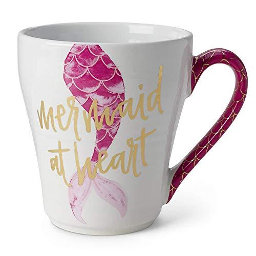 Ceramic Reusable Coffee/Tea Mug: Cute Novelty Mermaid at Heart Hot Coffee or Tea Cup (Pink)