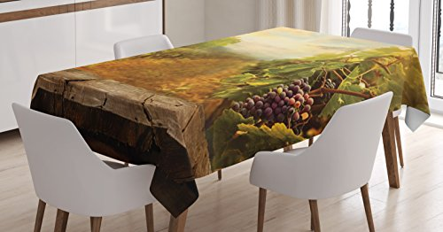 Ambesonne Kitchen Decor Tablecloth, Vineyard Grapes Natural Rustic Vinatage Scenery Orchads Wine Home Kitchenware Cafe, Dining Room Kitchen Rectangular Table Cover, 60 X 90 inches, Green Brown Blue