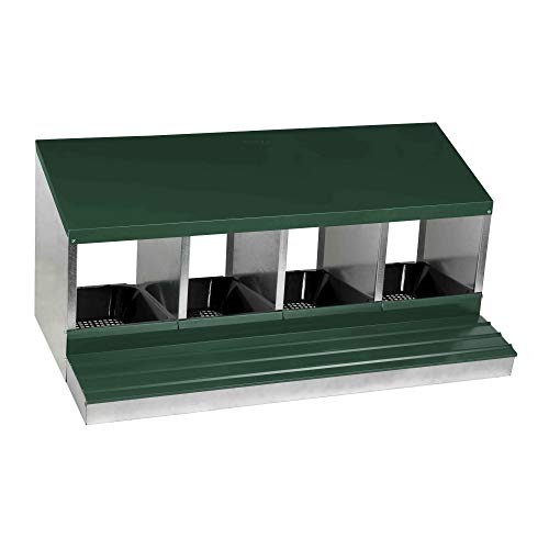 Homestead Essentials Deluxe 4 Compartment Metal Roll Out Nesting Box For Up To 20...