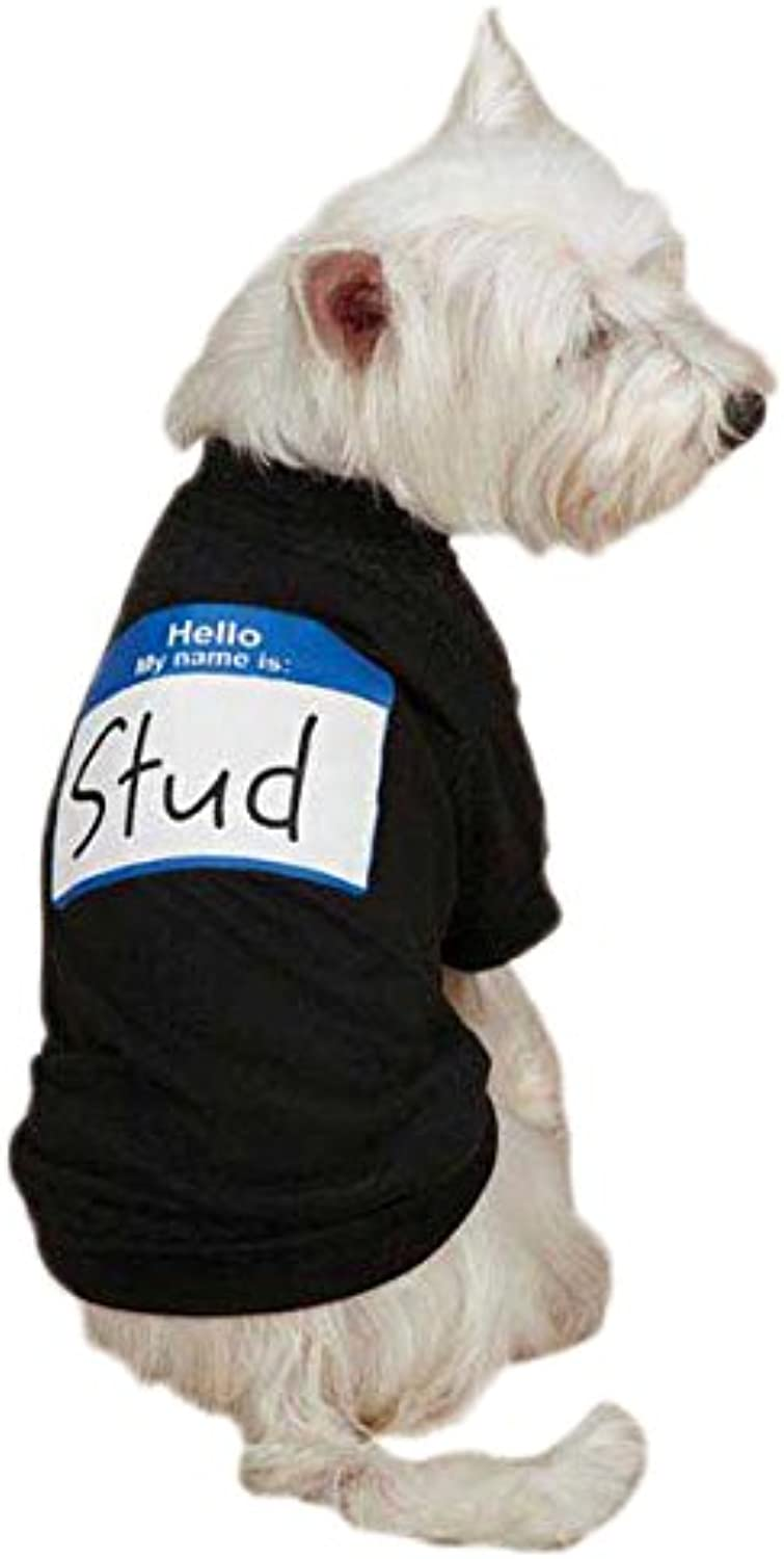 Casual Canine  Hello My Name Is  Tee for Pets, Small, Black