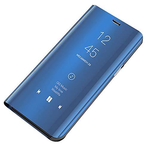 Bakicey Kompatibel mit Samsung A7 2018 Leder Hülle, Handyhülle Spiegel Schutzhülle Flip Tasche Case Cover für Samsung A750, Stand Feature Rückschale etui Bumper Hülle für Samsung A7 2018 (Blau)