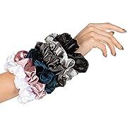 HARLOW Designer Silk Scrunchies for hair, Big Scrunchies Satin Packs for VSCO stuff, Hair Scrunchies - 6 Pack (Neutral Silk)