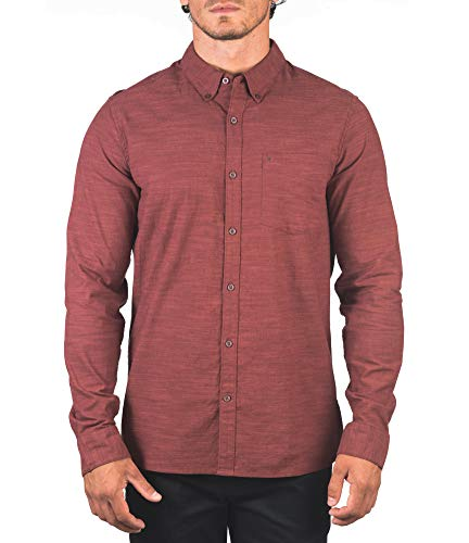 Hurley M One&Only Woven 2.0 L/S Camisa, Hombre, Mystic Dates,