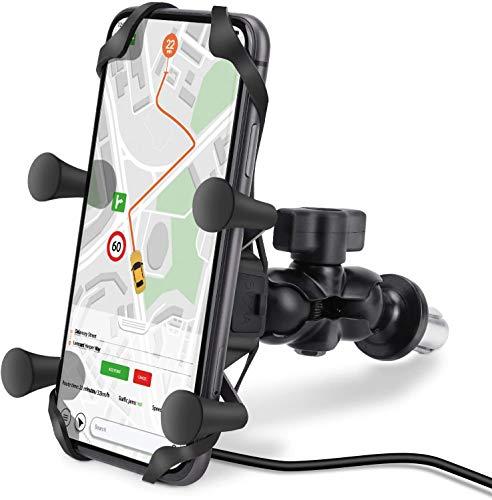 Motorrad Handyhalterung, mit 360°Drehbare Kugelgelenk, USB Ladegerät, Wasserdicht Alu Handyhalter mit Sicherheitsgummi