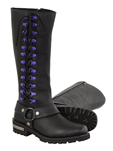 Milwaukee Leather Women's Leather Harness Boots with Purple Accent Loops (Black/Purple, Size 8.5/14')