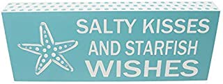DSD Salty Kisses and Starfish Wishes Beach Desk Decor Bathroom Box Sign | Beach Desk Accessories Decorative Signs Small Gift Ideas for Women | Kitchen Shelf Decor Sign Box Inspirational Wall Art