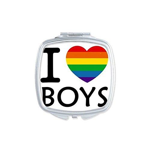 DIYthinker LGBT Arc-en-Gay Lesbian transgenre Bisexuels Support Je Aime Les garçons Illustration Drapeau carré Maquillage Compact Miroir de Poche Portable Mignon Petit Miroirs Main