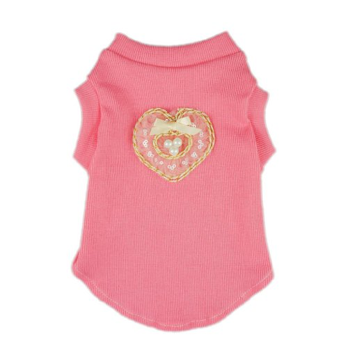 Fitwarm Sweetie Heart Pink Pet Dog T-Shirts Tank Shirts Vest Cotton Clothes Apparel