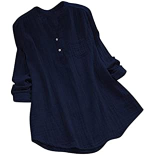 Clearance!!! Quistal Women Long Sleeve Casual Oversized Loose Tunic Dress Tops Baggy T-Shirt Tees Button Blouse with Pocket Plus Size (Navy, 2XL):Tudosobrediabetes